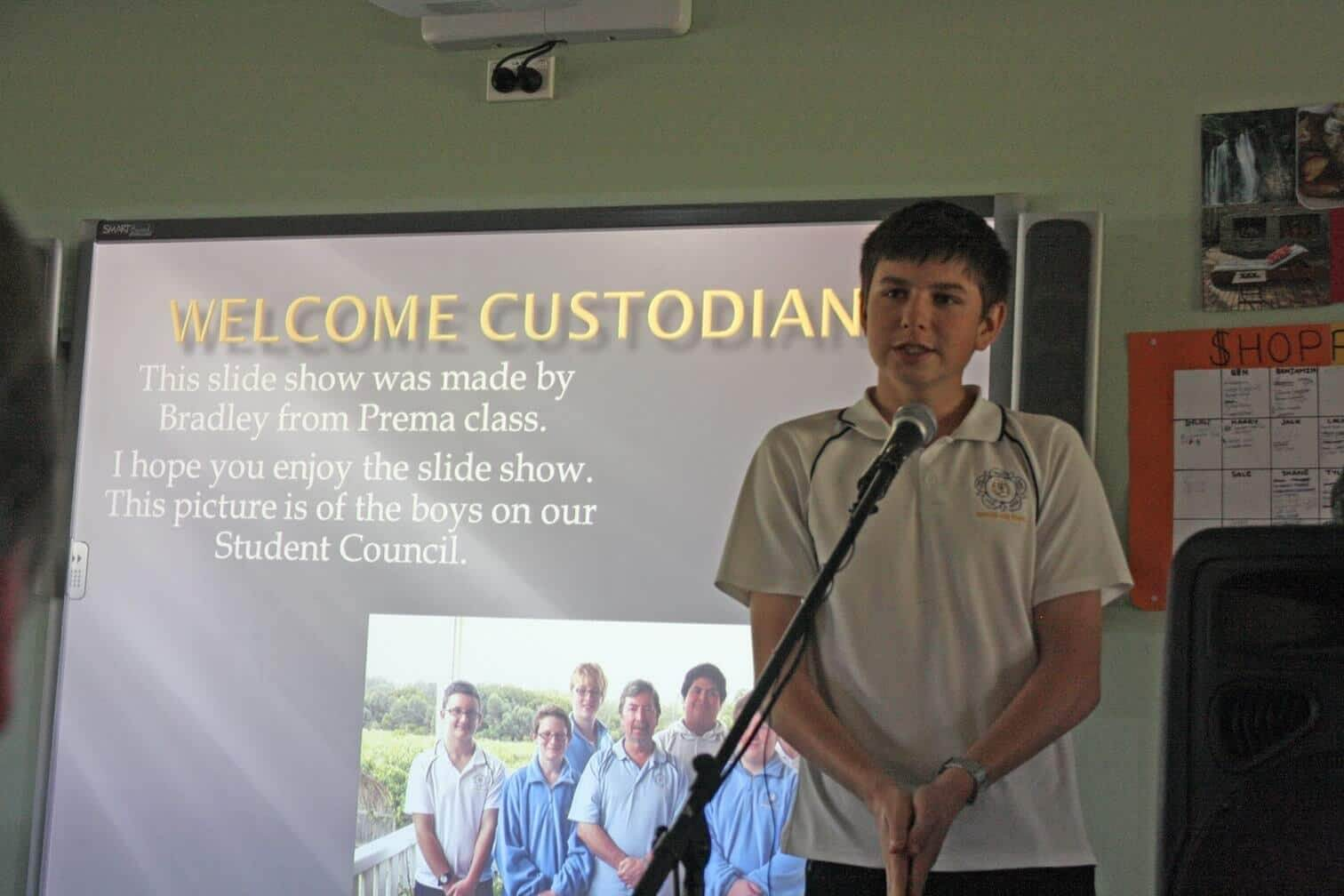 A boy is talking about his experience in Toogoolawa