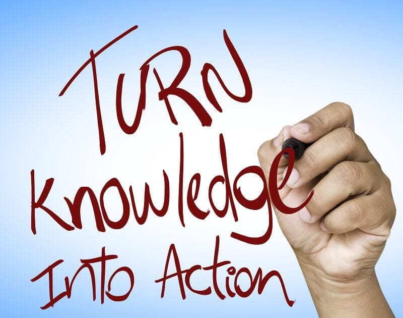 Turn Knowledge into action written on wipe board - Custodian