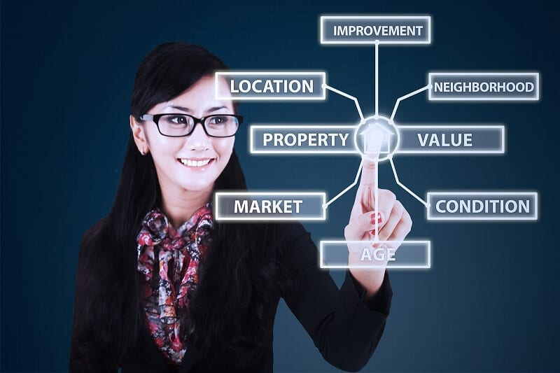 Businesswoman With Property Value Concept